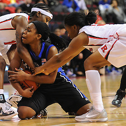 Rutgers Scarlet Knights guard Syessence Davis (15) and guard Erica Wheeler (3) force Seton Hall Pirates guard Jasmine Crew (23) into a held ball turnover during first half NCAA Women's Basketball action between the Rutgers Scarlet Knights and Seton Hall Pirates at the Louis Brown Athletic Center. Rutgers leads Seton Hall 28-19 at halftime.