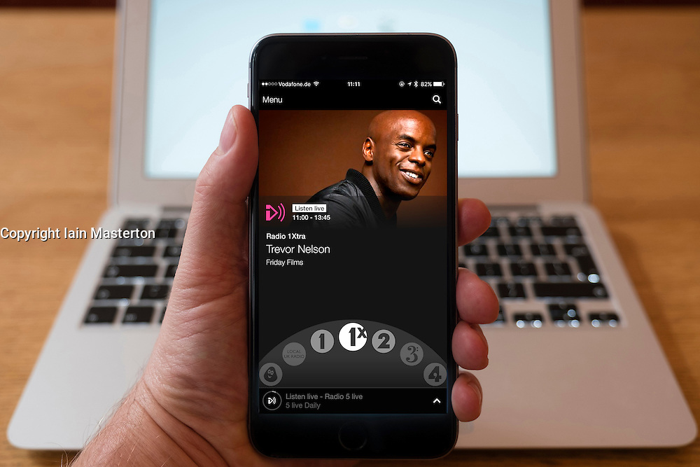 Using iPhone smartphone to display show on BBC radio 1x  Network radio station