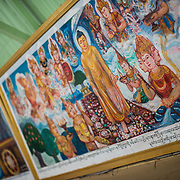 Mural at Soon Oo Pon Nya Shin Pagoda. Sitting on top of Nga-pha Hill, Soon Oo Pon Nya Shin Pagoda is one of multiple pagodas and temples in the religious district of Sagaing, near Mandalay. The original pagoda dates to 674.