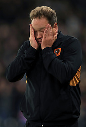 Hull City manager Leonid Slutsky reacts after seeing Hull City's Sebastian Larsson (not pictured) miss a penalty