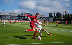 LIVERPOOL, ENGLAND - Wednesday, September 15, 2021: Liverpool's Conor Bradley (L) and AC Milan's Milos Kerkez during the UEFA Youth League Group B Matchday 1 game between Liverpool FC Under19's and AC Milan Under 19's at the Liverpool Academy. Liverpool won 1-0. (Pic by David Rawcliffe/Propaganda)