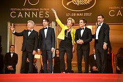 Dustin Hoffman, Noah Baumbach, Emma Thompson, Ben Stiller and Adam Sandler attending the 'The Meyerowitz Stories (New and Selected)' premiere during the 70th Cannes Film Festival on May 21, 2017 in Cannes, France. Photo by Julien Zannoni/APS-Medias/ABACAPRESS.COM