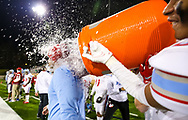 AC Flora Falcons head coach Dustin Curtis is dunked in the closing moments of their State Championship win over the North Myrtle Beach Chiefs at Benedict College.