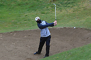 Joshua Hill (Galgorm Castle) in a bunker on the 5th during Round 3 of the Ulster Boys Championship at Donegal Golf Club, Murvagh, Donegal, Co Donegal on Friday 26th April 2019.<br /> Picture:  Thos Caffrey / www.golffile.ie