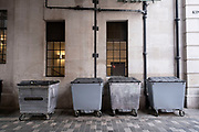 Large refuse bins outside a grand building in central London on 3rd March 2021 in London, England, United Kingdom.
