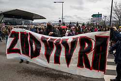 April 14, 2018 - Saint Etienne, France - Demonstration against the evictions of the ZAD at Notre Dame Des Landes, in Saint Etienne, France, April 14, 2018. The demonstrators gathered in front of the Verney Carron armament factory, before marching through the streets of the city. (Credit Image: © Nicolas Liponne/NurPhoto via ZUMA Press)
