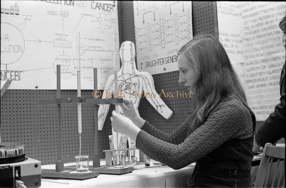 Young Scientist Exhibition .1971.8/1/71.1/8/71.The Aer Lingus Young Scientist of the Year Exhibition at the RDS..Joyce Greene a pupil of Holy Trinity College Cork who was runner up. Pictured working on her project of air pollution and its effect on the human body.