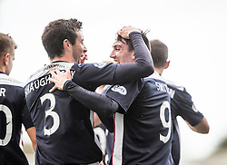 Falkirk's David Smith celebrates after scoring their second goal.<br /> Falkirk 6 v 0 Cowdenbeath, Scottish Championship game played at The Falkirk Stadium, 25/10/2014.