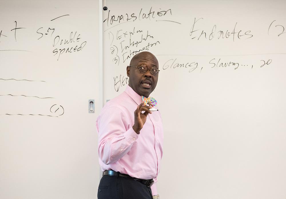 Photo by Mara Lavitt<br /> September 14, 2016<br /> Yale Divinity School, New Haven.<br /> Assoc. Professor Williie Jennings in class.