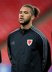 LONDON, ENGLAND - Thursday, October 8, 2020: Wales' Tyler Roberts lines-up for the national anthem before the International Friendly match between England and Wales at Wembley Stadium. The game was played behind closed doors due to the UK Government's social distancing laws prohibiting supporters from attending events inside stadiums as a result of the Coronavirus Pandemic. England won 3-0. (Pic by David Rawcliffe/Propaganda)