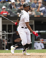 CHICAGO - JUNE 01:  Eloy Jimenez #74 of the Chicago White Sox bats against the Cleveland Indians on June 1, 2019 at Guaranteed Rate Field in Chicago, Illinois.  (Photo by Ron Vesely)  Subject:  Eloy Jimenez