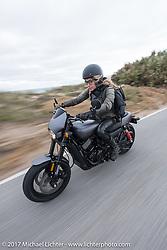 Iron Lilly Leticia Cline riding a new 2017 Harley-Davidson 750 Street Rod on A1A near Flagler Beach during Daytona Beach Bike Week. FL. USA. Tuesday, March 14, 2017. Photography ©2017 Michael Lichter.