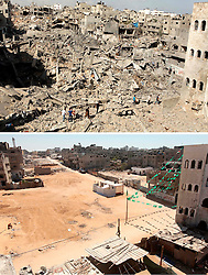 07.07.2015, Gaza city, PSE, Nahostkonflikt zwischen Israel und Palästina, Vorher und Nachher, im Bild eine Combo von zwei Bildern das obere ist im Krieg des Sommers 2014 zwischen Palästina und Israel und aufgenommen worden, das untere am 07. Juli 2015 // A combination of pictures made on July 7, 2015 shows (top) A general view of destruction in the Shejaia neighbourhood, which witnesses said was heavily hit by Israeli shelling and air strikes during an Israeli offensive,in Gaza City July 26, 2014, and the same place (bottom) on July 7, 2015, a year after the 50-day war between Israel and Hamas' militants, Palestine on 2015/07/07. EXPA Pictures © 2015, PhotoCredit: EXPA/ APAimages/ Ashraf Amra<br /> <br /> *****ATTENTION - for AUT, GER, SUI, ITA, POL, CRO, SRB only*****
