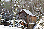67395-04216 Glade Creek Grist Mill in winter, Babcock State Park, WV