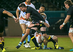 January 11, 2019 - Sugar Land, TX, U.S. - SUGAR LAND, TX - JANUARY 11:  Houston SaberCats lock Matt Trouville (5) gets tackled by Austin Elite lock Ben Mitchell (4) during the pre-season exhibition rugby match between the Austin Elite and Houston SaberCats on January 11, 2019 at Constellation Field in Sugar Land, Texas.  (Photo by Leslie Plaza Johnson/Icon Sportswire) (Credit Image: © Leslie Plaza Johnson/Icon SMI via ZUMA Press)