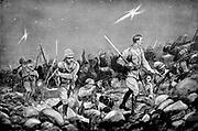 Boer War: Siege of Mafeking by Boers 12 October 1899 - 17 May 1900: defending British troops making a night sortie.