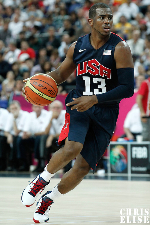 10 August 2012: USA Chris Paul is seen during 109-80 Team USA victory over Team Argentina, during the men's basketball semi-finals, at the North Greenwich Arena, in London, Great Britain.