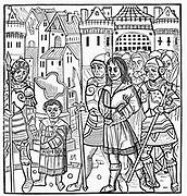 Saint Louis (Louis IX of France) and his brothers Alphonse and Charles taken prisoner during the Sixth  Crusade. Ransomed 1250. Woodcut of 1522. Incidence of Scurvy high amongst Crusaders .