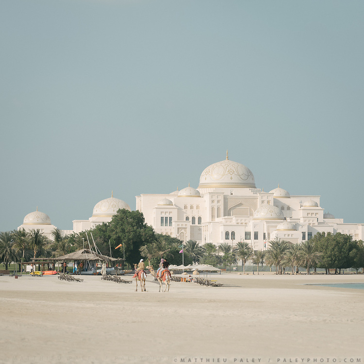 The presidential residence as viewed  from the beach of the luxurious Emirates Palace hotel.