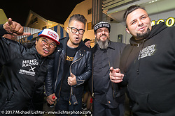 Kustomfest's Lt Lulu from Indonesia with Custom builder Winston Yeh of Taiwan and Marcos Vazquez of Free Kustom Cycles in Barcelona at the Mooneyes Area-1 BBQ party. Yokohama, Japan. Monday December 4, 2017. Photography ©2017 Michael Lichter.