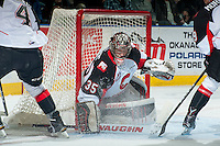 KELOWNA, CANADA - NOVEMBER 15: Ty Edmonds #35 of the Prince George Cougars makes a save against the Kelowna Rockets on November 15, 2016 at Prospera Place in Kelowna, British Columbia, Canada.  (Photo by Marissa Baecker/Shoot the Breeze)  *** Local Caption ***