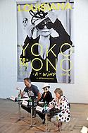 06.06.2013. Humlebaek, Denmark.Lousiana's director Poul Erik Tojner (L), Yoko Ono and the curator of the exhibition Kirsten Degel (R) during the press conference at the Lousiana Museum of Modern Art.Photo: © Ricardo Ramirez