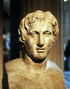Alexander the Great (Alexander III of Macedon) 356-323 BC. Roman copy of contemporary bronze bust by Lyssipus. Louvre, Paris