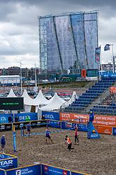 Centercourt with Christiaan Varenhorst, Steven van de Velde in action. The DELA NK Beach volleyball for men and women will be played in The Hague Beach Stadium on the beach of Scheveningen on 22 July 2020 in Zaandam.
