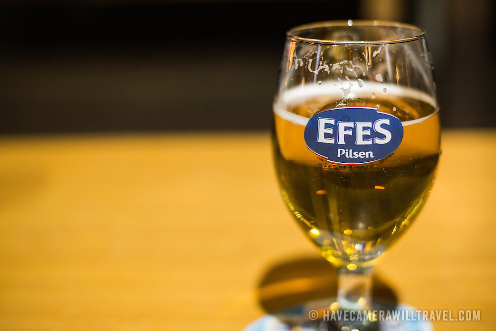 A glass of Efes Pilsner, a local beer, in Istanbul, Turkey.