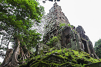 Preah Palilay - Only the Central Sanctuary of Prah Palilay remains intact. The sandstone tower opens on four sides, each one of which has a porch. The tower stands on a base with three tiers and has a stairway on each side. On the upper portion there is a pyramid that forms a sort of chimney, which is filled with reused stones.  Palilay is unique in its coexistence of Hindu and Buddhist elements Lintels and pediments lying on the ground at the sides and back of the temple afford a rare opportunity to see relief at eye level. Many depict Buddhist scenes with Hindu divinities. The presence of Buddhist monks at this temple give it the feeling of an active place of worship.