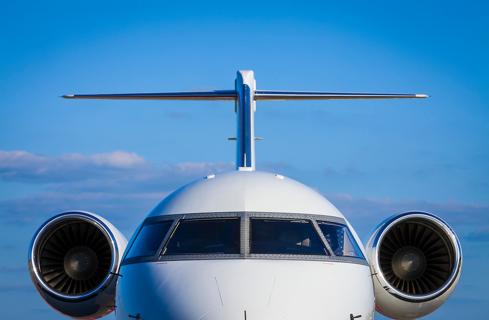 A Bombardier Challenger 605 on the ramp at Kalamazoo International Airport, Michigan.  <br /> <br /> Created by aviation photographer John Slemp of Aerographs Aviation Photography. Clients include Goodyear Aviation Tires, Phillips 66 Aviation Fuels, Smithsonian Air & Space magazine, and The Lindbergh Foundation.  Specialising in high end commercial aviation photography and the supply of aviation stock photography for advertising, corporate, and editorial use.
