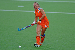 Minke Booij of the Netherlands in action against Argentina during Olympics Games Athletics day 12 on August 24, 2004 in Olympiako Kentro Khokei, Athens.