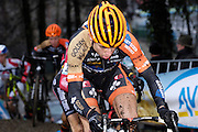 Belgium, Sunday 13th December 2015: The eventual race winner, Wout Van Aert, on the first lap of the elite men's Hansgrohe Superprestige cyclocross race at Spa Francorchamps.<br /> <br /> Copyright 2015 Peter Horrell