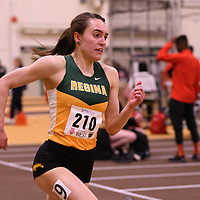 Kaila Neigum in action during the 2018 Canada West Track & Field Championship on February  24 at James Daly Fieldhouse. Credit: Arthur Ward/Arthur Images