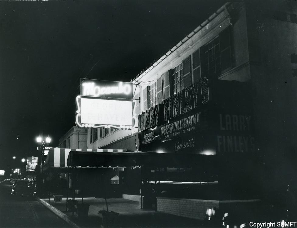 1955 Mocambo Nightclub at night in West Hollywood