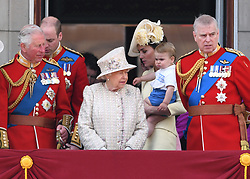Prince Charles, The Duke of Cambridge, The Queen, The Duchess of Cornwall, Prince Louis and Prince Andrew attending Trooping The Colour, Buckingham Palace, London. Picture credit should read: Doug Peters/EMPICS