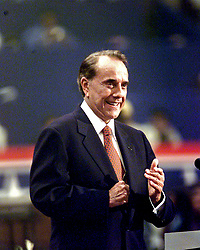 Former United States Senator Bob Dole (Republican of Kansas) speaks to the 2000 Republican National Convention at the First Union Center in Philadelphia, Pennsylvania on August 1, 2000..Credit: Ron Sachs / CNP