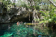 Grand Cenote sinkhole with ultra clear water for swimming and snorkelling, near Tulum on the Yucatan peninsula, Quintana Roo, Mexico.