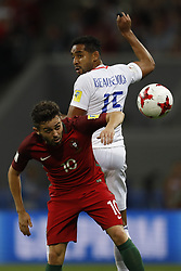 June 28, 2017 - Kazan, Russia - Bernardo Silva (L) of Portugal national team and Jean Beausejour of Chile national team vie for the ball during FIFA Confederations Cup Russia 2017 semi-final match between Portugal and Chile at Kazan Arena in June 28, 2017 in Kazan, Russia. (Credit Image: © Mike Kireev/NurPhoto via ZUMA Press)