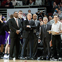 21 December 2009: Sacramento Kings coach Paul Westphal stands with his coaching staff during the Sacramento Kings 102-98 victory over the Chicago Bulls at the United Center, in Chicago, Illinois, USA.