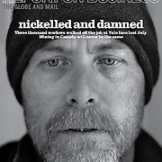 Portrait of a striking miner for the Cover of Report on Business Magazine which won a National Magazine Award, photo editor Clare Jordan.
