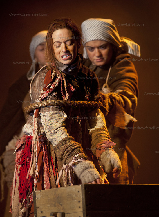 """Picture shows : Cath Whitefield as Tottie and Charlene Boyd as Jenny.<br /> Bondagers <br /> By Sue Glover<br /> Directed by Lu Kemp<br /> """"Redd up the stables, muck out the byre, plant the tatties, howk the tatties, clamp the tatties... Shear, stook, striddle, stack. Women's work.""""<br /> A true classic of modern Scottish Theatre, and a haunting evocation of a lost way of life, Sue Glover's lyrical play with music and song follows six women land workers as they graft and dance their way through a year on a 19th Century Borders farm.<br /> Every ploughman had to provide a woman (a bondager) to work on the farm. If his wife was too busy with family, he hired a woman to work the fields and lodge in his home. Following these womenthrough the passing of the seasons, we feel the rhythm of the land and the harshness, humour, hope and tragedy of those who worked upon it.<br /> Picture : Drew Farrell<br /> Tel : 07721 -735041<br /> www.drewfarrell.com<br /> <br /> <br /> For Further information please contact Michelle Mangan Press and PR Manager, Royal Lyceum Theatre Edinburgh <br /> Main Line: 0131 248 4800  Direct Line: 0131 248 4822<br /> <br /> Image is free to use in connection of the promotion of 'Bondagers' and  The Lyceum Theatre Permissions for ALL other uses needs to be sought and payment make be required.<br /> <br /> Opens at The Royal Lyceum Theatre, Edinburgh<br /> 22 October to 15 November 2014<br /> CAST <br /> Cath Whitefield - Tottie <br /> Pauline Lockhart - Maggie <br /> Wendy Seager - Sara <br /> Jayd Johnson - Liza <br /> Charlene Boyd - Jenny <br /> Nora Wardell - Ellen <br /> CREATIVE TEAM <br /> Director   Lu Kemp <br /> Designer Jamie Vartan <br /> LX Designer   Simon Wilkinson <br /> Composer/Sound Designer - Michael John McCarthy<br /> Voice - Ros Steen<br /> Lu Kemp has recently has directed Don Quixote at Òran Mór, and Arabian Nights at the Tricycle Theatre. We are delighted to welcome her to The Lyceum to direct this wonderful ensemble piece."""