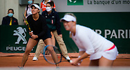 Desirae Krawczyk of the United States and Alexa Guarachi of Chile in action during the doubles quarter-final at the Roland Garros 2020, Grand Slam tennis tournament, on October 7, 2020 at Roland Garros stadium in Paris, France - Photo Rob Prange / Spain ProSportsImages / DPPI / ProSportsImages / DPPI