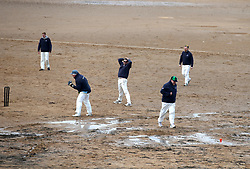 A catch is missed during the beach cricket match in Elie, between the Ship Inn cricket team, in Elie, Fife and Eccentric Flamingos CC.  The Ship Inn are the only pub in Britain to have a cricket team with a pitch on the beach. The Ship Inn CC season runs from May to September with dates of matches dependent on the tide. They play against a combination of regular opposition from Scotland and touring teams from all over the world. Any Batsman hitting a six which lands in the Ship Inn beer garden wins their height in beer and any non playing spectator who catches a six in the beer garden also wins their height in beer.PRESS ASSOCIATION Photo. Picture date:Sunday April 30, 2017. Photo credit should read: Andrew Milligan/PA Wire.