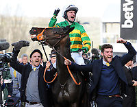 National Hunt Horse Racing - 2020 Cheltenham Festival - Wednesday, Day Two (Ladies Day)<br /> <br /> Winner, Jonathan Plouganou on Easysland in the 16.10 Glenfarclas (Cross country) Steeple chase (Class 2), at Cheltenham Racecourse.<br /> <br /> CREDIT : COLORSPORT / ANDREW COWIE