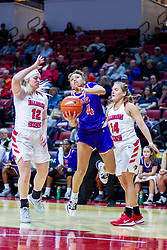 NORMAL, IL - January 05: Makayla Wallace shoots while defended by Cameron Call and Paige Saylor during a college women's basketball game between the ISU Redbirds and the Purple Aces of University of Evansville January 05 2020 at Redbird Arena in Normal, IL. (Photo by Alan Look)