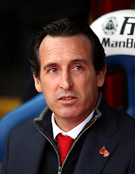 """Arsenal manager Unai Emery during the Premier League match at Selhurst Park, London. PRESS ASSOCIATION Photo. Picture date: Sunday October 28, 2018. See PA story SOCCER Palace. Photo credit should read: Tim Goode/PA Wire. RESTRICTIONS: EDITORIAL USE ONLY No use with unauthorised audio, video, data, fixture lists, club/league logos or """"live"""" services. Online in-match use limited to 120 images, no video emulation. No use in betting, games or single club/league/player publications."""