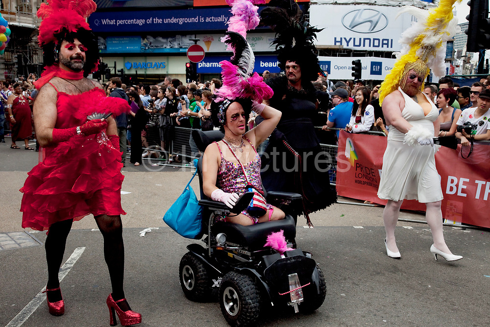 Pride London gay and lesbian parade through central London. Pride London (founded in 2004) aims to promote equality and diversity through all of its campaigns. The Pride London festival uses theatre, music, debate, art and entertainment to raise awareness of discrimination and the issues and difficulties affecting the lives of lesbian gay bisexual and transgender people around the world. The annual parade is an explosion of Pride in the heart of the capital, attracting over 1,000,000 people in a celebration of diversity.