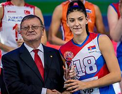 01-10-2017 AZE: Final CEV European Volleyball Nederland - Servie, Baku<br /> Nederland verliest opnieuw de finale op een EK. Servië was met 3-1 te sterk / Tijana Boskovic #18 of Servië