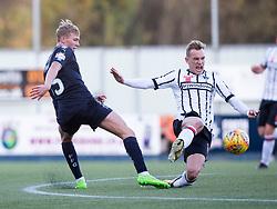 Falkirk's Cieran Dunne and Dunfermline's Dean Shiels. Falkirk 1 v 1 Dunfermline, Scottish Championship game played 4/5/2017 at The Falkirk Stadium.